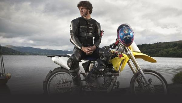 Guy Martin on motorcycle, set for hydroplaning record