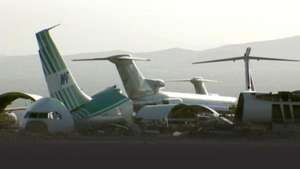 Airplane debris from numerous crashes