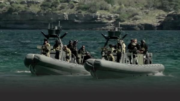 Commandos training on small armed ships