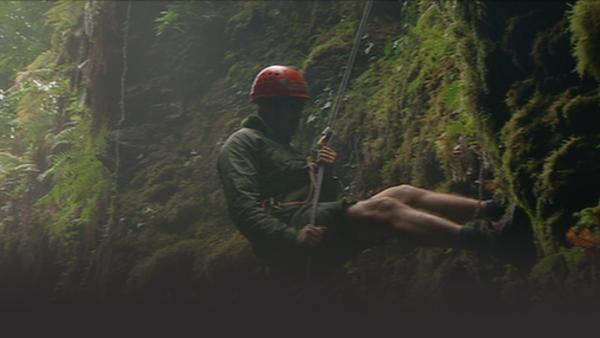 Man rappelling down the side of a cliff in Low's Gully