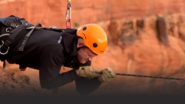 Freddie Flintoff navigates a high wire in the desert