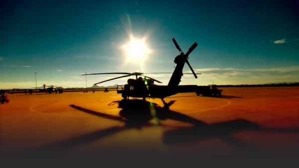 Helicopter at a desert base