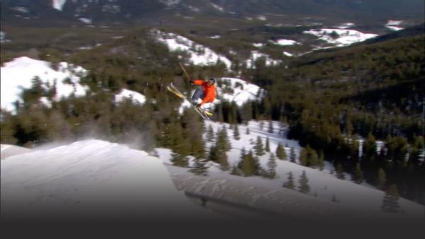 Pro skier Billy Pool performing a 360 in the air.