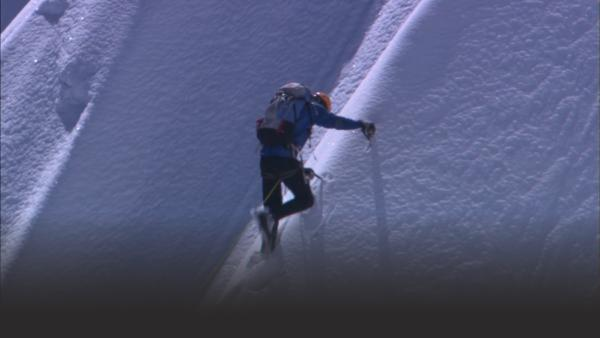 Pete Athans attempting to climb the Himalayas.