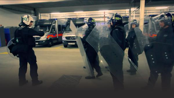 Cops with riot shields