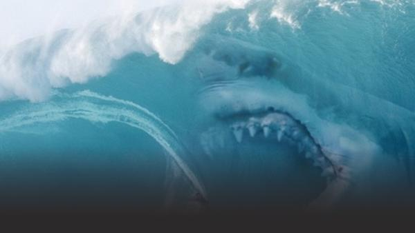 Giant shark about to eat a surfer