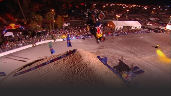 Rhys Millen does a backflip in a truck