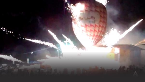 Balloon crashing into a crowd in Myanmar