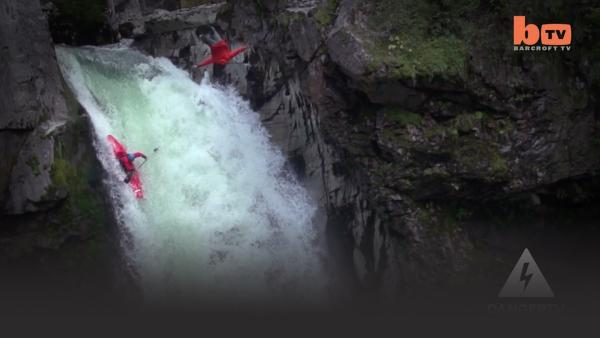 kayaker and diver over waterfall