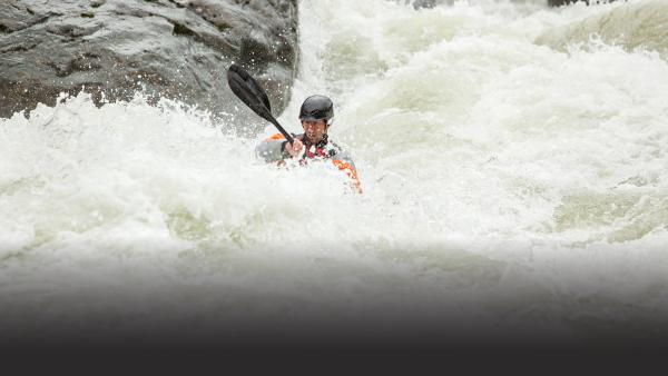 Profesional kayaker Steve Fisher an his crew put their skills to test as they kayak off waterfalls