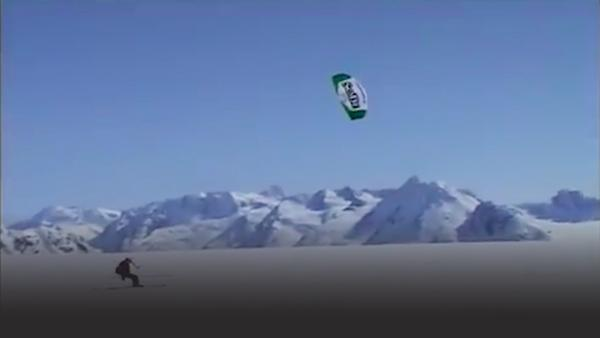 Kite skier on top of glacier