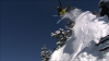 Heli skier jumps off cliff